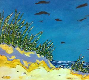 christi dreese, along the shoreline beach painting