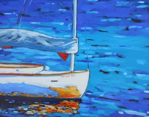 dreese boat painting 24 x 30