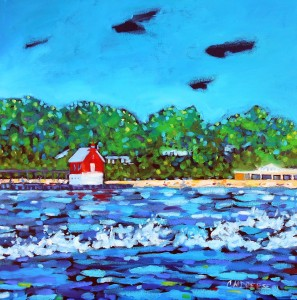 dreese grand haven lighthouse pier oil painting 20x20