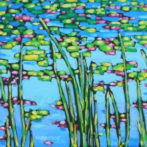 dreese oil painting waterlilies 24x24