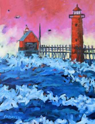 Christi Dreese Grand Haven Lighthouse sunset 1