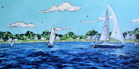 Christi Dreese Sailboats 24x48 oil painting